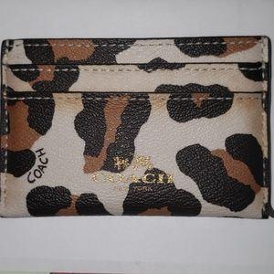 Coach leopard card holder